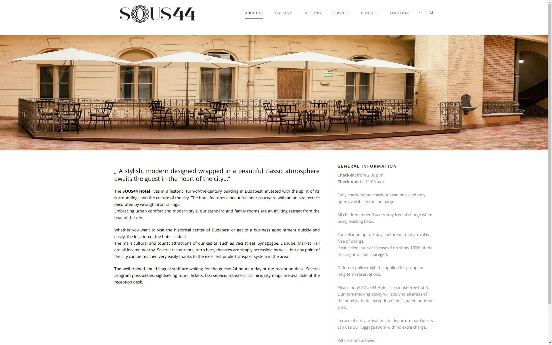 «Munkáinkból: Sous44 Hotel » Weboldal készítés | Linux szerver karbantartás | Technikai SEO > info@webrockets.hu