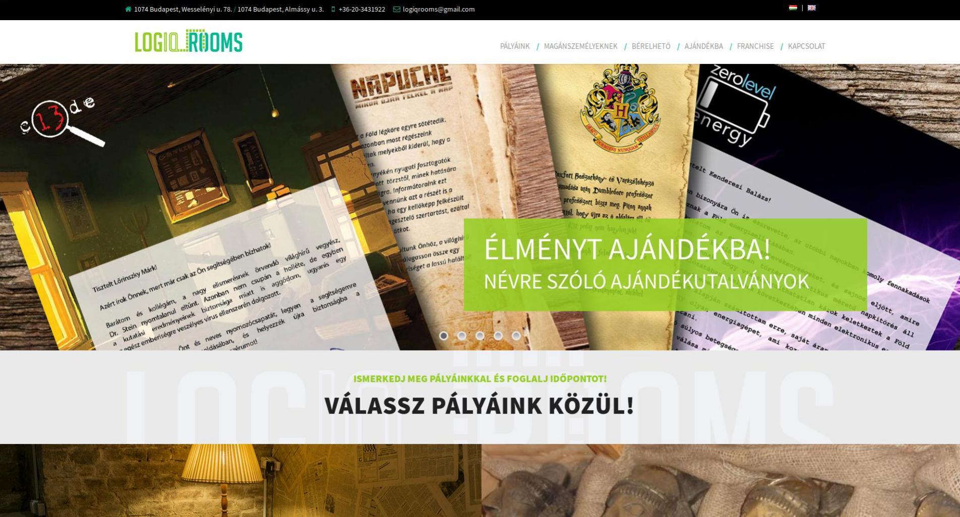 «Munkáinkból: Logiqrooms » Weboldal készítés | Webshop készítés | Technikai SEO > info@webrockets.hu
